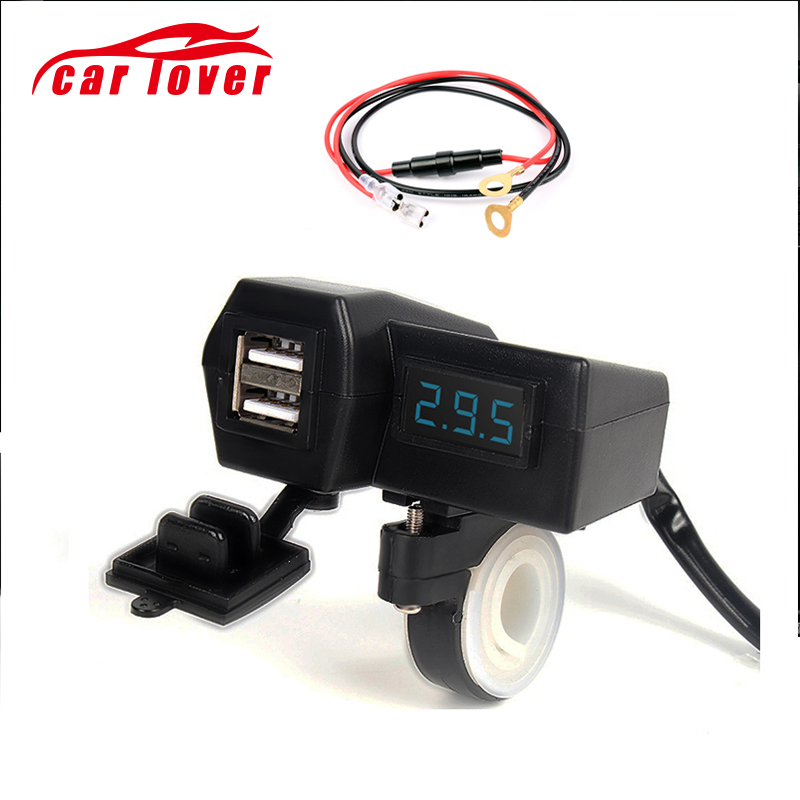 Waterproof 12V/24V Motorcycle ATV Scooter With LED Digital Display Voltmeter Voltage Dual USB Power Socket Charger Power Switch