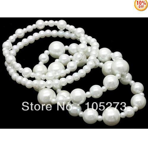 New Arriver Shell Jewellery 4-10MM Round Shaper White Color Sea Shell Pearl Bracelet 8'' Fashion Elastic Bracelet Free Shipping