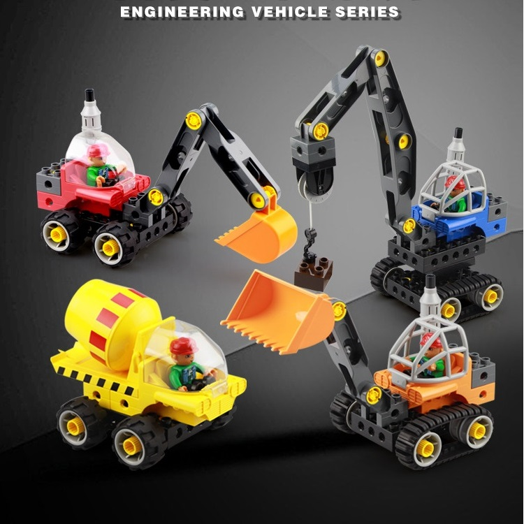 Engineering truck Car Set Creative Model Building Blocks Big Particles accessory Bricks Compatible with Duplo DIY assemble Toy forest park plant tree leaf model big particles building blocks toys set bricks diy accessory child gift compatible with duplo