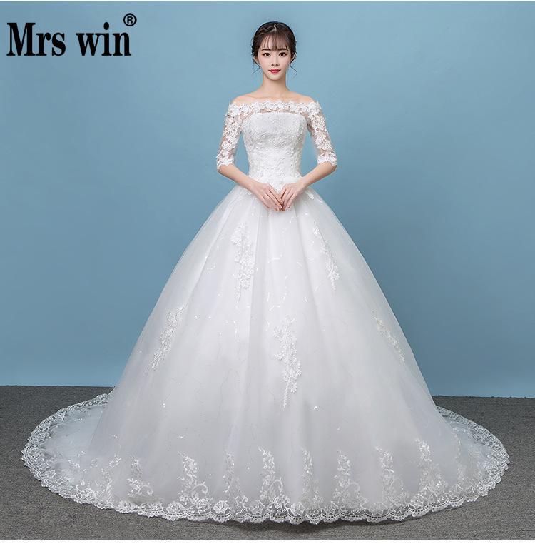 Robe De Mariee Grande Taille 2018 New Mrs Win Boat Neck Off The Shoulder Princess Vestido De Novias Vintage Wedding Dresses F