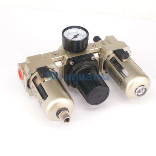 AC3000-03 Manual Drain G3/8 Air Source Treatment Unit Pneumatic Lubricator+Filter+Regulator ac3000 series air filter combinations f r l combination ac3000 02 g1 4