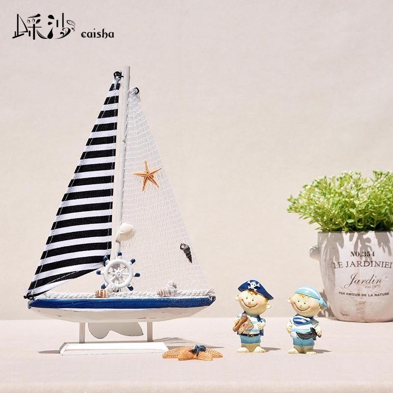 Mediterranean style American sailing model decoration living room TV cabinet craft boat furnishings smooth gifts
