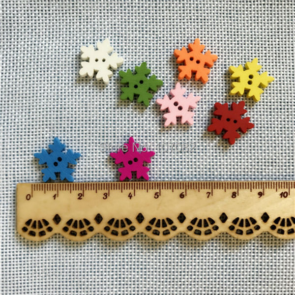 Us 5 99 300pcs 18mm Mixed Wood Snowflake Buttons Cardmaking Christmas Button Crafts Embellishments For Scrapbooking In Buttons From Home Garden On
