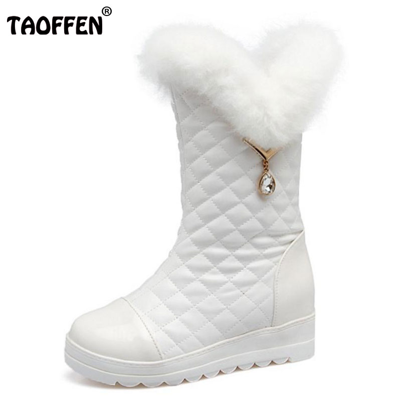 TAOFFEN Size Winter Shoes Fur Snow Boots For Women Wedges
