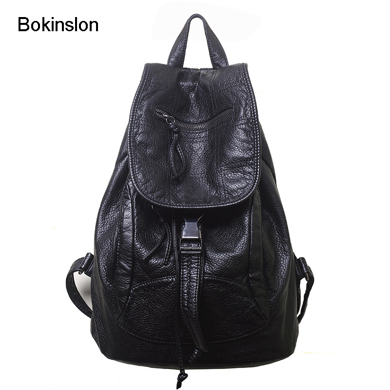 Bokinslon Backpack Women Popular Cow Split Leather Travel Bag Ladies Casual College Style Backpack Girl