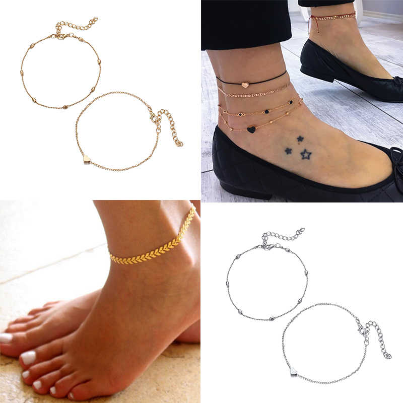 Fashion Jewelry Anklet Simple Summer Beach Ankle Bracelet Bohemian Vintage Charms Mini Heart Ankle Accessories For Women