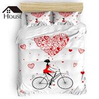 BIGHOUSES Duvet Cover Set Love Bike Female Red Heart Valentine's Day Duvet Cover 4 Piece Bedding Set