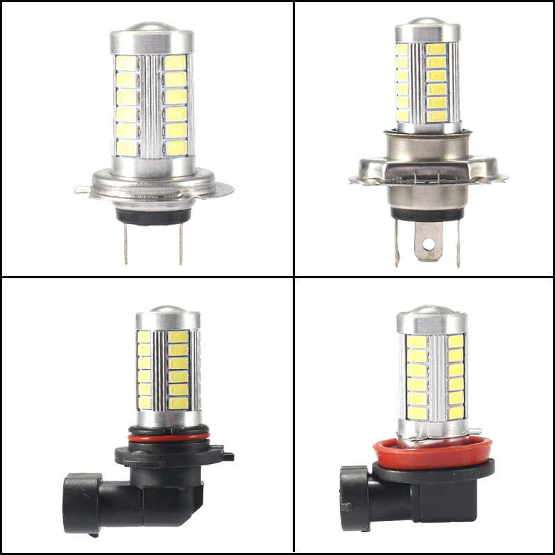 2pcs 4 colors optional Car Lights H4 LED H7 h8 h9 h11 9005 9006 hb3 hb4 33SMD White yellow blue red Car Headlight Bulbs Fog lamp