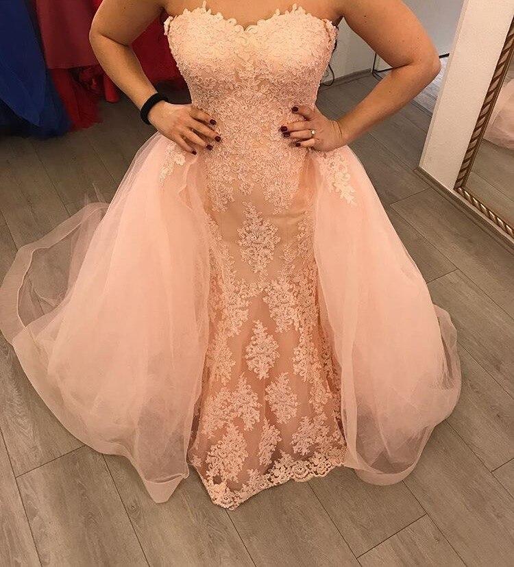 Robe De soirée sirène nue rose chérie avec jupe amovible longue Robe De soirée dentelle Tulle Appliques femmes robes formelles