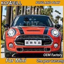 KOWELL araba Styling Mini F55 F56 cooper led farlar F57 tüm LED kafa lambası melek göz led DRL + dönüş sinyali ön ışık