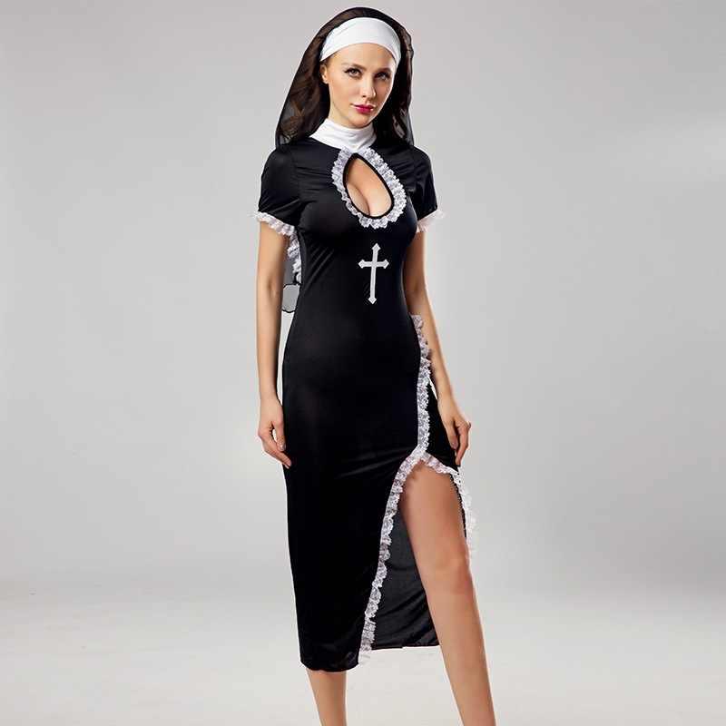 ขายส่ง Virgin Mary แม่ชีเครื่องแต่งกายผู้หญิงเซ็กซี่ยาวสีดำแม่ชีเครื่องแต่งกายภาษาสวีดิชคำศาสนา Monk Ghost ชุด Halloween