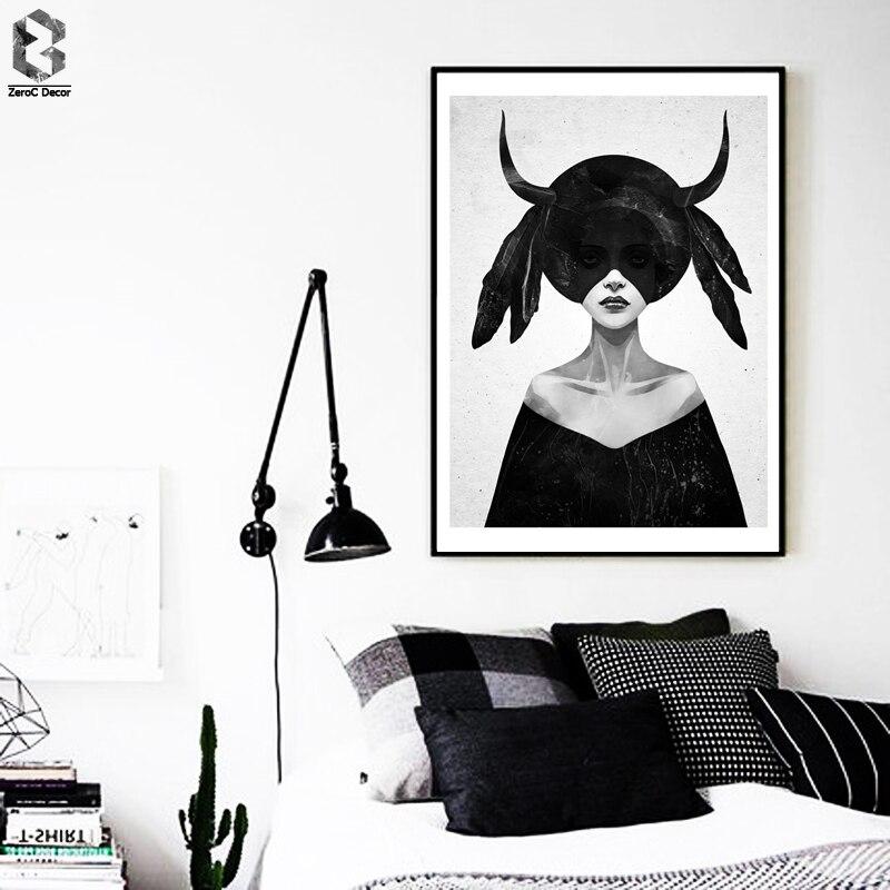 Cuadros Plakáty A Nástěnné Obrazy Obraz Obrazy Obrazy Na Obývací Pokoj Nordic Dekorace Dark Girl Černý Plakát