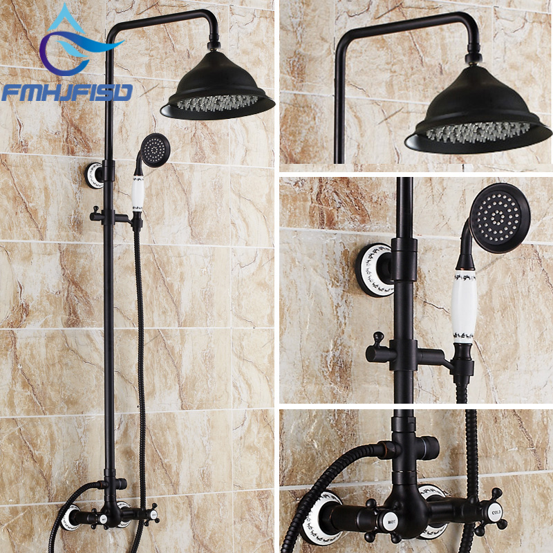 Free Shipping Wholesale And Retail Promotion NEW Luxury Oil Rubbed Bronze Rain Shower Faucet Dual Handles Ceramic Base Shower free shipping wholesale and retail free shipping art carved floor drain oil rubbed bronze shower ground drain cover