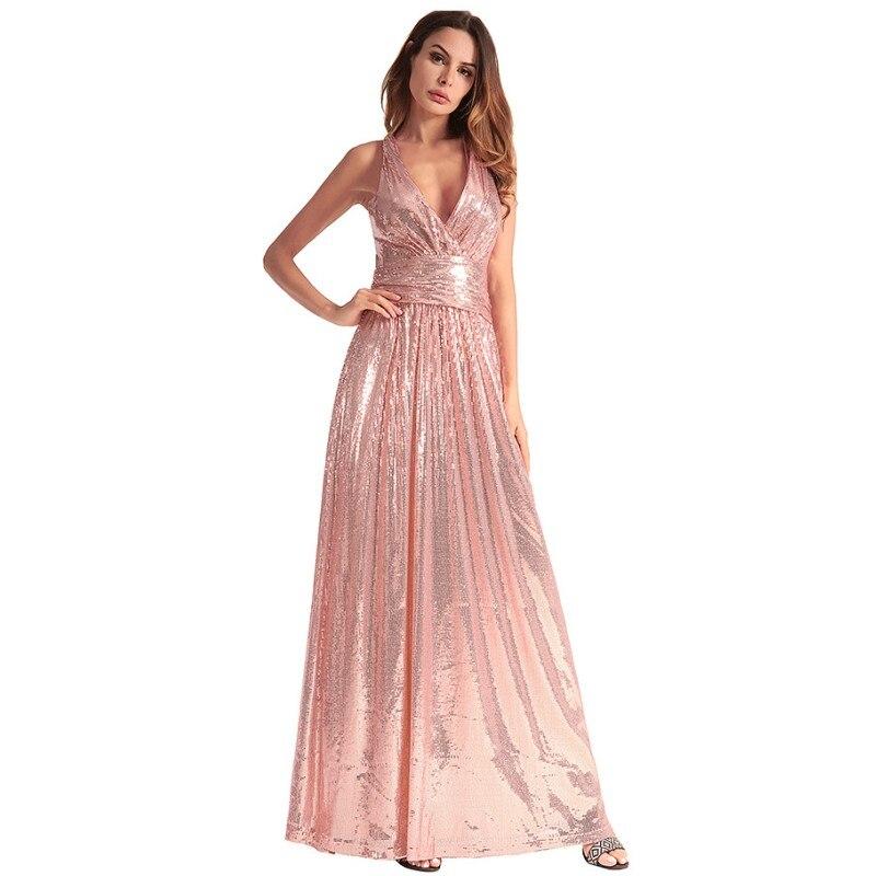 Sequin longue robe élégante Club fête beauté femmes croix dos ouvert sangle Sexy Maxi robes robe Vestidos De Fiesta H1331