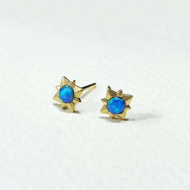 ANI 18K Yellow Gold (AU750) Opal Women Wedding Stud Earrings Natural Opal Earring for Fashion Lady Engagement joias ouro 18k ювелирный набор fashion no 1 18k