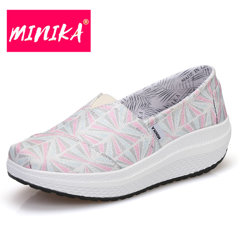 MINIKA New Arrival Fashion Loafers Women Non-slip & Breathable Women Flat Shoes Height Increase Slip on Platform Shoes Women minika new arrival 2017 casual shoes women multicolor optional comfortable women flat shoes fashion patchwork platform shoes