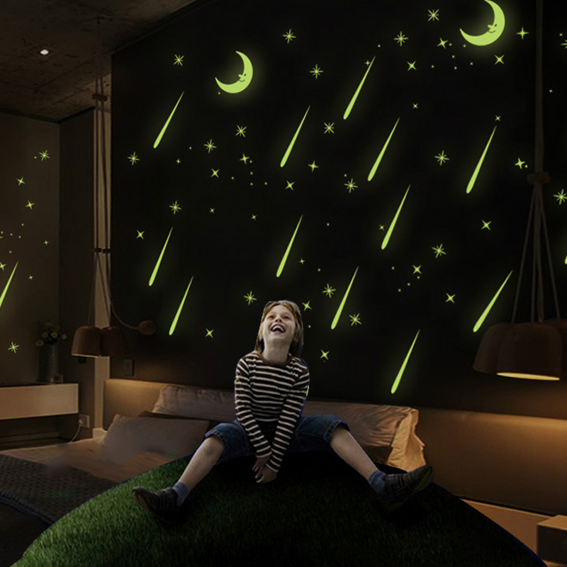 Meteor Shower Luminous Light Moon&Star Wall Stickers Bedroom Home Home Decor