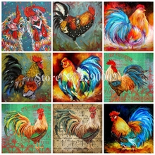 Animals Full Square DIY Diamond Painting Big Cock Embroidery Cross Stitch Rhinestone Mosaic Painting Home Decor Christmas Gift