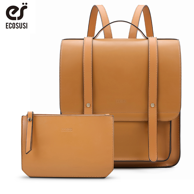 ECOSUSI Women Messenger Backpacks Vintage PU Leather School Backpack 13 Inch Laptop Backpack with Small Purse