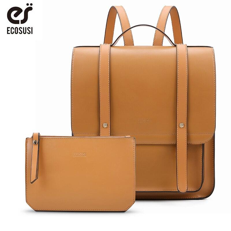 """Bagaj ve Çantalar'ten Sırt Çantaları'de ECOSUSI 13 """"kadınlar Messenger sırt çantaları Vintage PU deri okul çantası dizüstü sırt çantası küçük çanta ile kadın cüzdanı seyahat çantası yeni'da  Grup 1"""