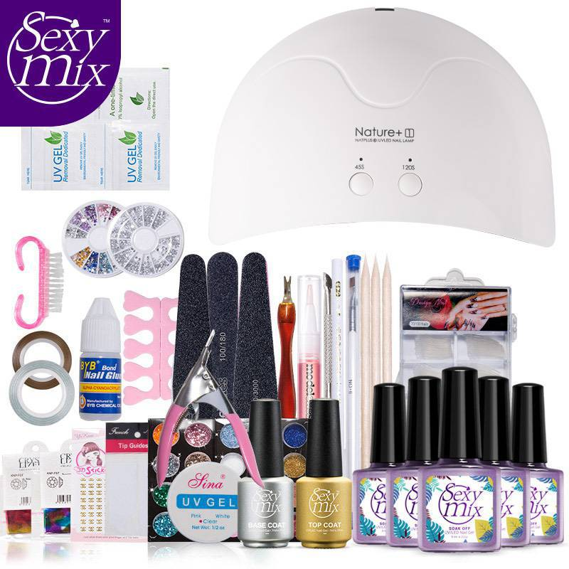 Sexy Mix Pro Nail Art UV Gel Nail Polish Kits Tools Sets 16W UV led Nail Dryer Lamp Top Brush Tips Glue Acrylic Manicure Set att 138 pro nail polish eu us plug 9w uv lamp gel cure glue dryer 54 powder brush set kit at free shipping