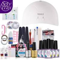 Sexy Mix Pro Nail Art Gel UV Nail Polish Kit di Strumenti Sets 16 W UV led Del Chiodo Della Lampada Top Brush Tips Colla Acrilica Manicure Set
