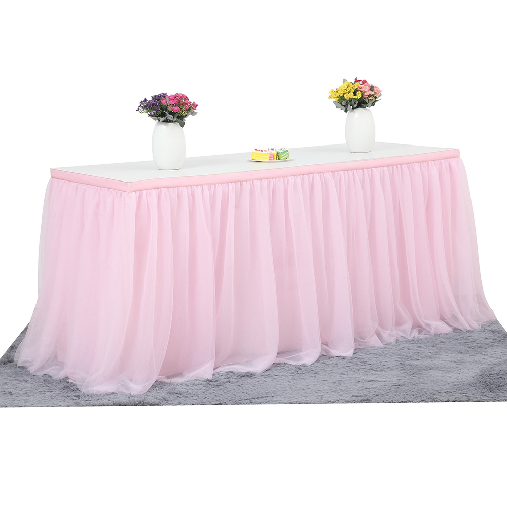 Romantic Tulle Tutu Table Layer Mesh Fluffy Cloth For Girl Princess Party Baby Shower Party Wedding Birthday Home Decoration