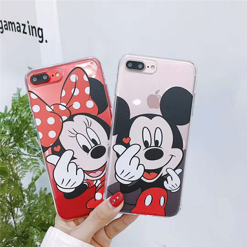 Clear Soft Covers For iPhone X 6 6s Plus 8 7 Plus Lovely Mickey Minnie Mouse Stitch Donald Daisy Duck Cartoon Phone Cases Fundas