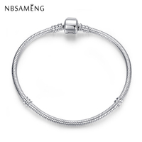 Authentic 100% 925 Sterling Silver Barrel Clasp Bracelet Snake Chain Basic Bracelets Fit Pan Women Beads Charms DIY Jewelry