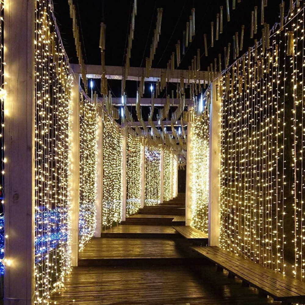 LED Curtain String Light 6x3m 600leds Remote Control Indoor Drop LED Light for Wedding Home Garden Party Decor Light