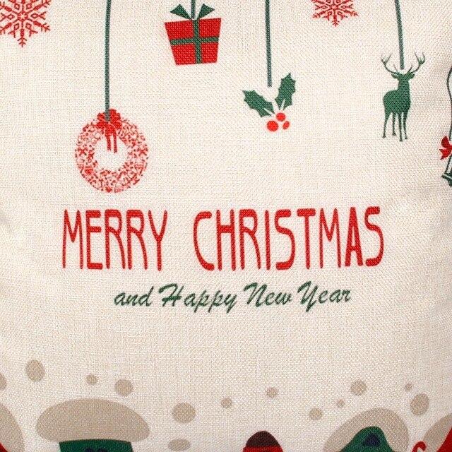 FENGRISE 45x45cm Pillow Case Christmas Decorations For Home Santa Clause Christmas Deer Cotton Linen Cover Cushion Home Decor 3