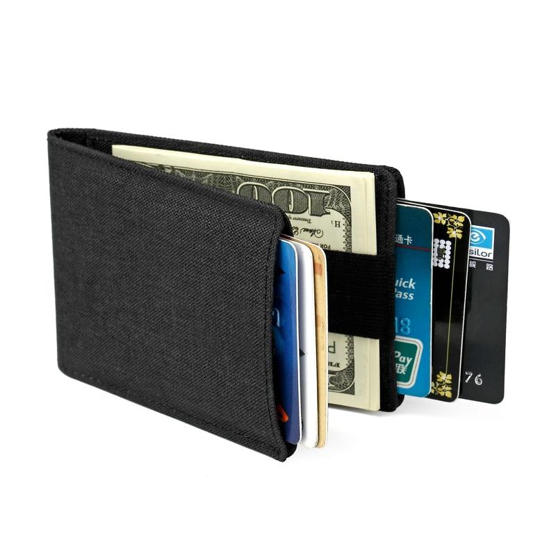 Slim RFID Nylon Men Wallets with Money Clip Bifold Mini Clutch Wallet Thin Credit Card Sleeve Cardholder Small Pocket Handy