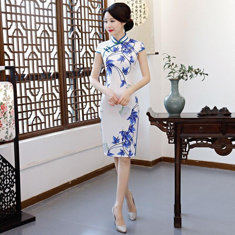 Été nouveau Rayon Silm traditionnel chinois robe blanc femmes élégant Cheongsam surdimensionné col Mandarin Floral dame Qipao M-3XL