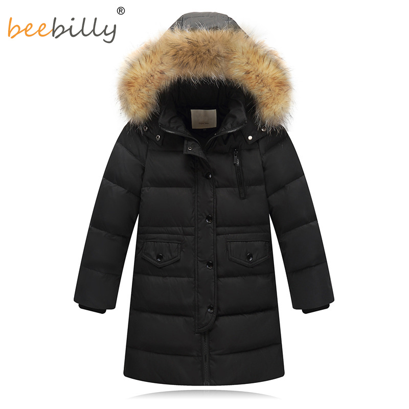 Brand New Children Cold Winter down Girls Thickening Warm Down Jackets Boys long Big Fur Hooded Outerwear Coats Kids Down Jacket все цены