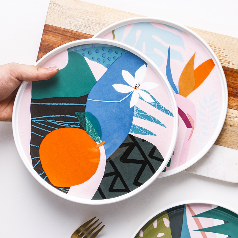 1pcs 9inch Bone china Ceramic Dinner Plate Abstract Art Painting Dinner Dishes Pasta Steak Dessert Plates Fine Kitchenware|Dishes & Plates| |  - title=