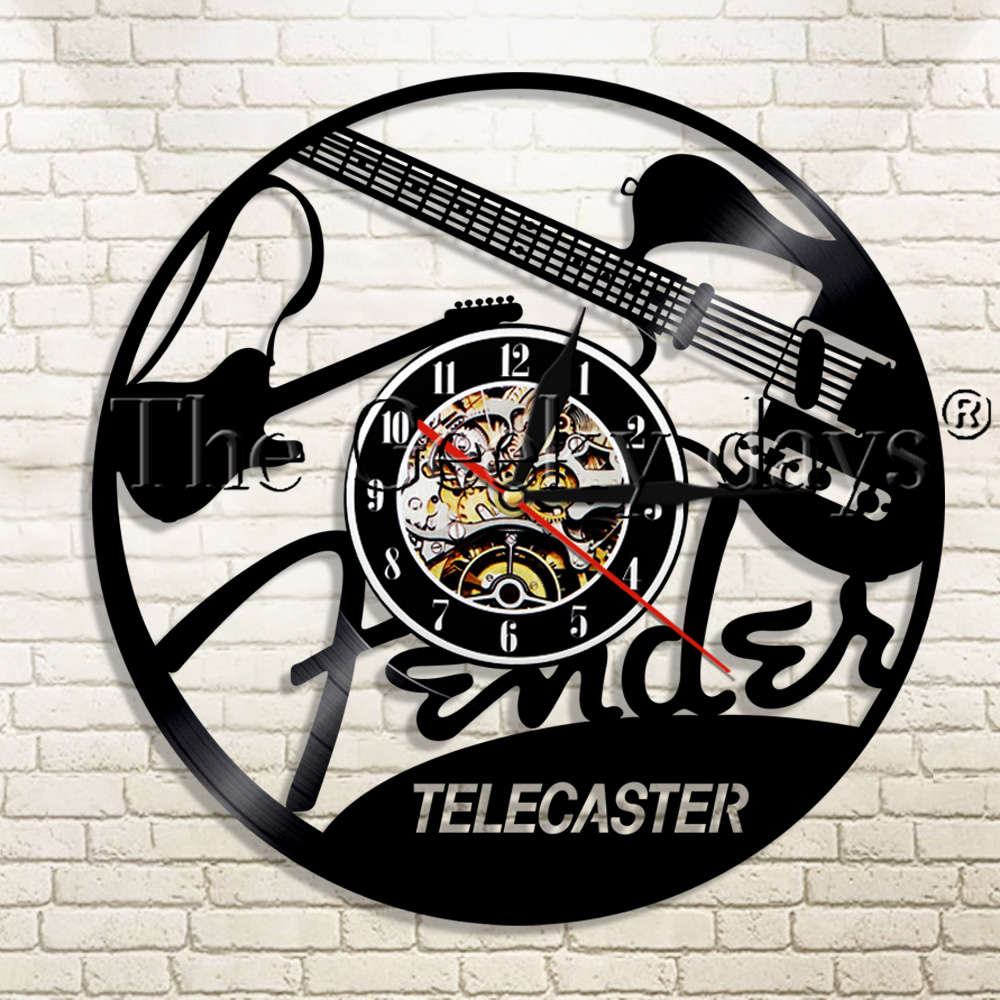 1Piece Telecaster Vinyl Record Wall Clock Guitar Rock N Roll Music Instrument Modern Wall Hanging Decor For Guitar Lover Gift