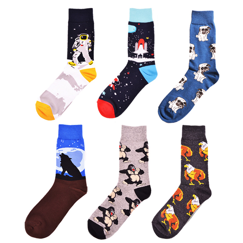 Hss Colorful Cotton Mens Socks Pug Dog Pattern Funny Socks Hip Hop Men Socks Crew For Male Wedding Birthday Party Gifts Men's Socks