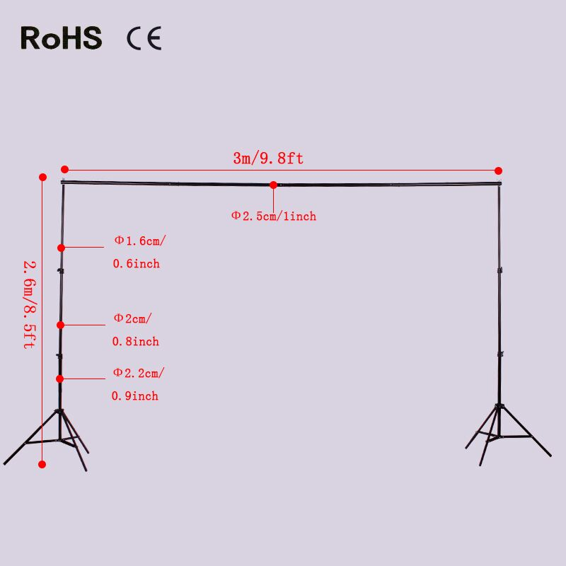 Hot Sale2*2.6m light stand+3m Aluminum crossbars Collapsible Studio Photo Photography Background Backdrop Stand Support Crossbar 2 8m x 3m pro adjustable background support stand photo backdrop crossbar kit photography stand 3 clips for photo studio