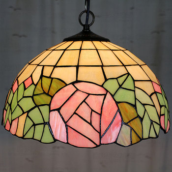 12inch European style Tiffany color glass pink romantic rose pendant light bedroom bedroom dining room