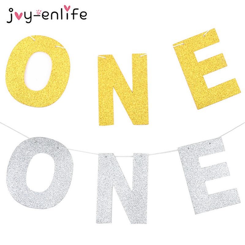 JOY-ENLIFE 1set Glitter Gold/Silver Glitter ONE Garland Banner 1 Year Old Birthday Party Decor Baby Baby Shower Supplies