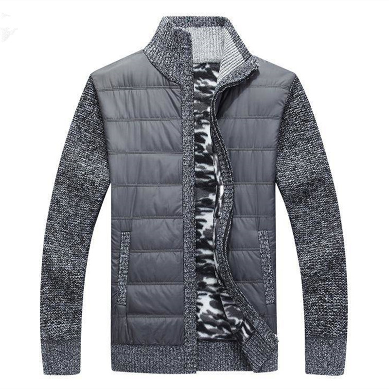 Casual Jacket Men Winter Autumn Men's Cardigan Thick Jackets Fashion Patchwork knitted Zipper Stand Collar Male Coat Men Outwear(China)