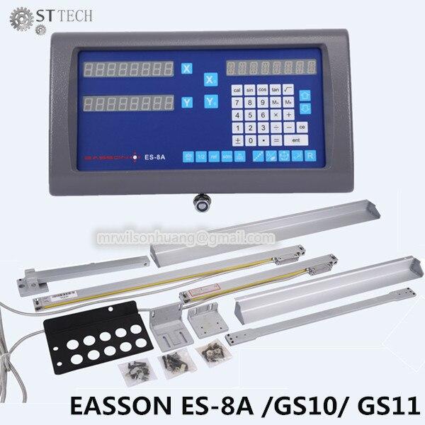 Livraison gratuite Easson ES-8A ensemble complet 2 axes DRO lecture numérique et 2 pièces GS10 échelle linéaire pour tour et moulin