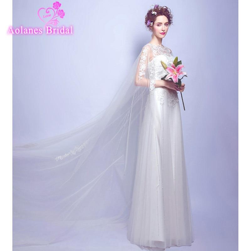 Cheap Korean Simple O Neck White Lace Wedding Dress 2017