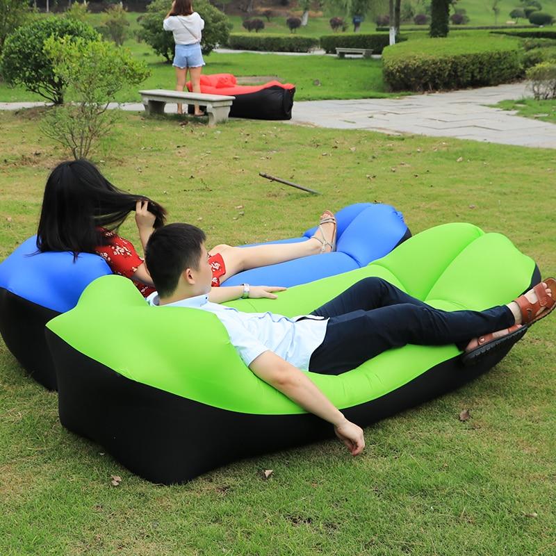 2018 productos al aire libre de tendencia rápido Infaltable aire sofá cama de buena calidad saco de dormir inflable bolsa de aire perezoso playa sofá Laybag