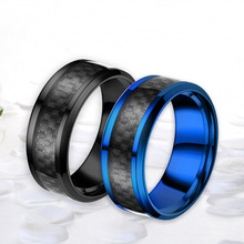 8mm Blue Black Tungsten Carbide Rings Men Jewelry For Male Wedding Bands