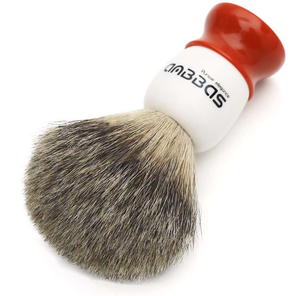 Anbbas 100% Pure Cabelo Badger Shaving Brush Pincéis de Barbear Luxo Alça de Resina Presente para Homens Barbeador Manual de Barbear Molhado Perfeito