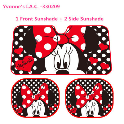 3pcs  set Cartoon Minnie Mouse 1 Front + 2 Side Sunshade Car Sun Shade  Window Sun UV Protection Foils Windshield Visor Cover 0af249a8e46