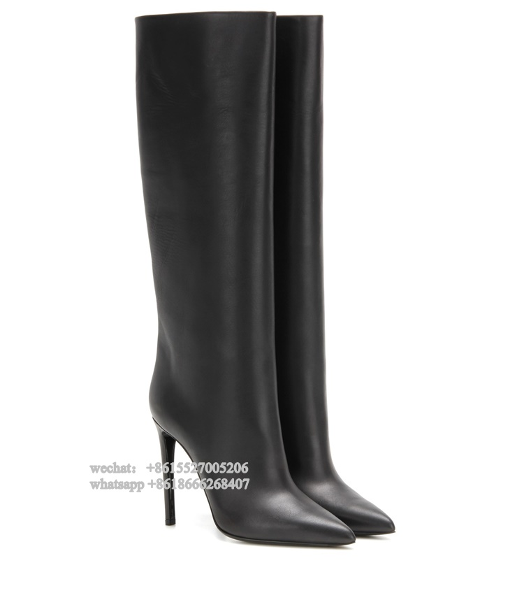 Fashion Pure Black Real Leather Pointed Toe High Heel Long Women Boots Winter Knee Boots Plus size 43Fashion Pure Black Real Leather Pointed Toe High Heel Long Women Boots Winter Knee Boots Plus size 43