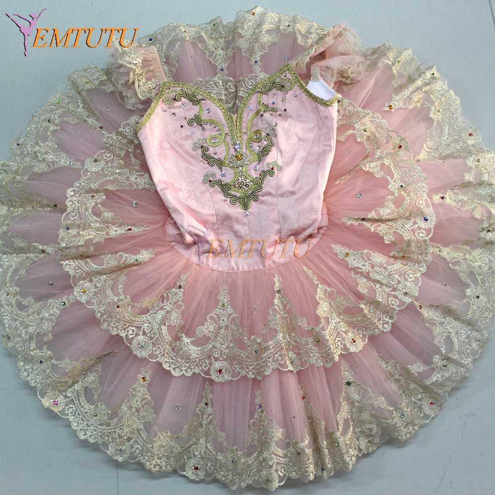 e15f5ddb9 adult profesional ballet tutu pink Gold lace sleeve Performance pancake Tutu  sugar plum fairy ballet stage