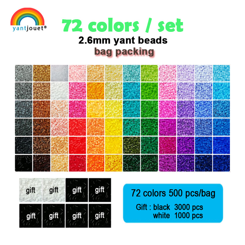 Yantjouet 2.6mm Yant Beads 72colors/set Black White Mini Beads For Kid Hama Beads Diy Puzzles High Quality Gift Children Toy